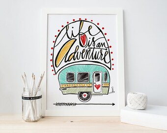 Life Is An Adventure Vintage Camper Drawing Hand Lettering Wall Decor Colorful Artwork Seeker Cute