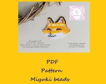 Petit renard souriant / diagramme tissage perles miyuki / miyuki pattern / beading pattern / birck stitch