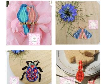 4 Diagrammes Printaniers -  pour tissage en perles Miyuki - 4 Patterns Spring Time - for weaving with Miyuki beads - PDF