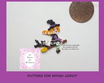 La petite sorcière pressée / diagramme pour tissage miyuki/ beading pattern / miyuki pattern