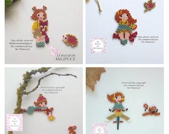pack de 4 diagrammes Miss Jolie en automne - brick stitch pattern - beading pattern - miyuki