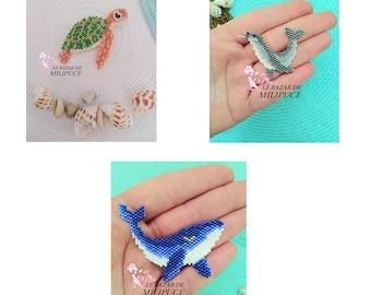 3 Animaux marins - 3 Marine Animals - Diagramme pour tissage en perles Miyuki - Pattern for weaving with Miyuki beads