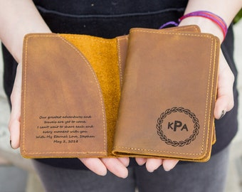 Engraved Passport Holder - Personalized Passport Cover - 3rd Anniversary Gift - Customized Leather Travel Wallets