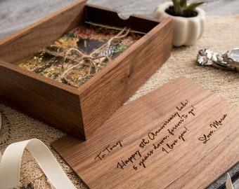 Engraved Wood Anniversary Gift Box - Custom Walnut Box for Letters Cards Photos, Birthday Keepsake Memory Box, Sentimental Christmas Gift