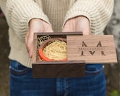 Square Walnut Gift Trinket Box ( Small Jewelry Gift Box, Necklace Bracelet Box Storage, Personalized Gift Box for Bridesmaids Weddings )