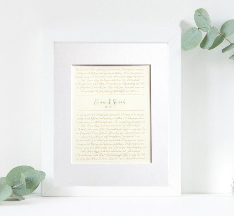 1st Anniversary Paper Gift - Laser Etched Wedding Vows or First Dance  Lyrics Song - Mat Frame Optional - Wall Art for Wife or Husband