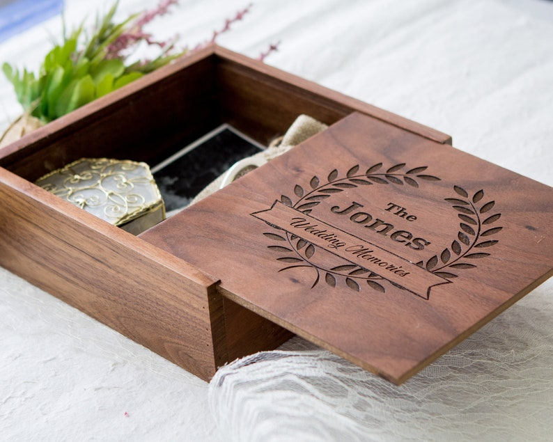 Square Wedding Memory Box 6x6 Or 7x7 Keepsake Storage Box 5th Wood Anniversary Gift For Husband Or Wife Photo Box Presentation