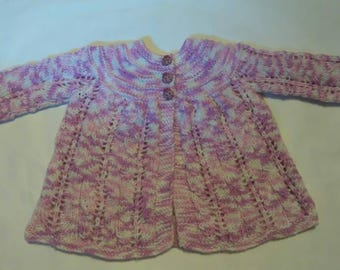 Hand knitted, pretty baby girls matinee jacket. Pink and white. Vintage style. Unique.