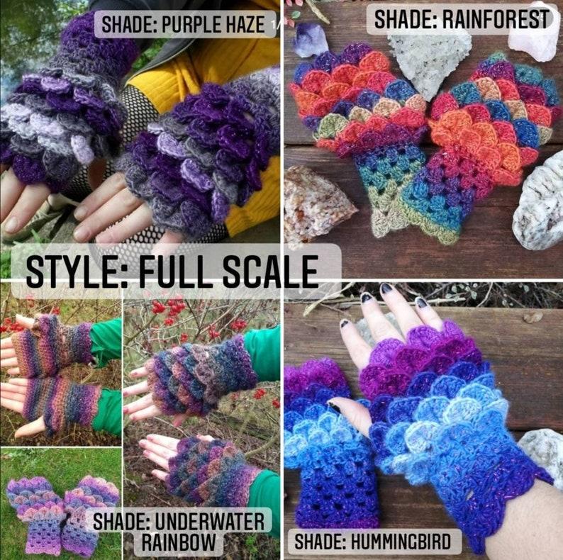 CUSTOM Glitter DragonScale Gloves  Crochet  Handmade  Made to Order
