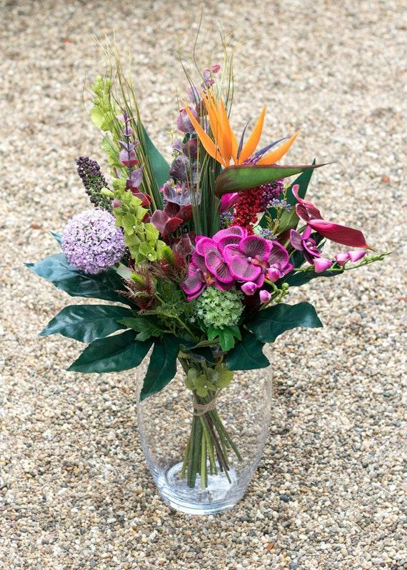 Tropical Flower Bouquet Luxury Resort Inspired Silk Flower Etsy