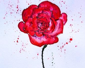 Rose Original Ink Art on Watercolour Paper A3