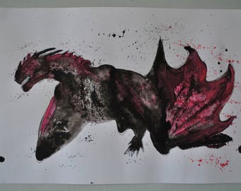 Dragon original art in black and red ink and pen on watercolour paper