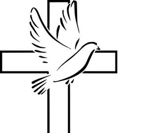 Cross with Dove SVG cutting file