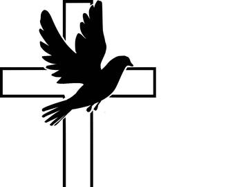 Cross with dove [filled in] SVG cutting file