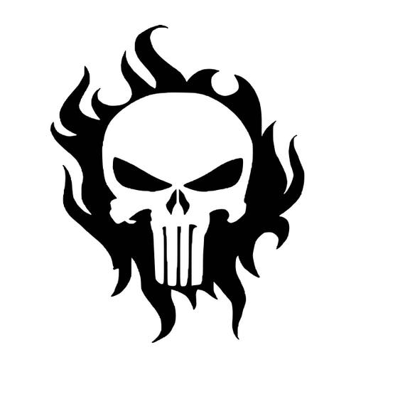 Punisher Skull With Flames Background SVG Cutting File