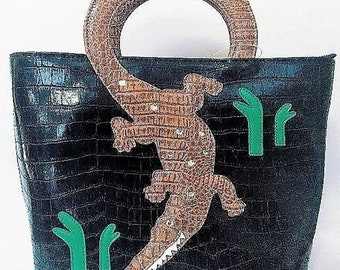 NEW Bulk LOT 140 Total Purses - Alligator Embossed Faux Leather handbag Large - Black