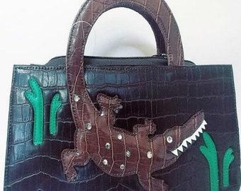 NEW Bulk LOT 145 Total Purses - Alligator Embossed Faux Leather handbag Small - Black
