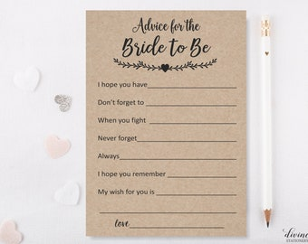 Kraft Advice for the Bride Cards / Bridal Shower Games / Bridal Advice Cards / Funny / Rustic / Download Games / CO 1