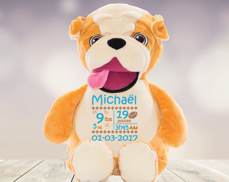 Barcus / Personalized stuffed animal / Custom embroidery / Birth gift /  Baby gift