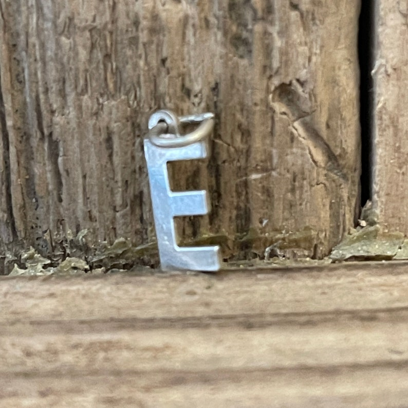 Hallmarked Uppercase Alphabet Initial Tiny Dainty Necklace Bracelet Pendant Vintage Solid Silver Letter E Charm Name Birthday Gift