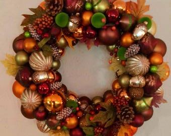 Ornament Fall Wreath, Fall Decor, Gold, orange, bronze
