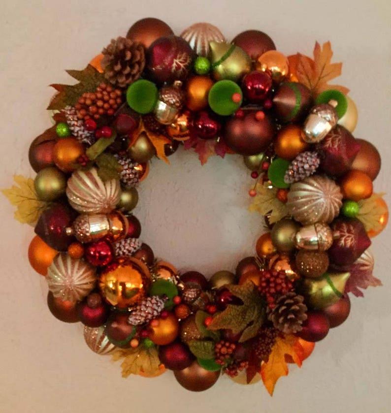 orange Gold Ornament Fall Wreath Fall Decor bronze