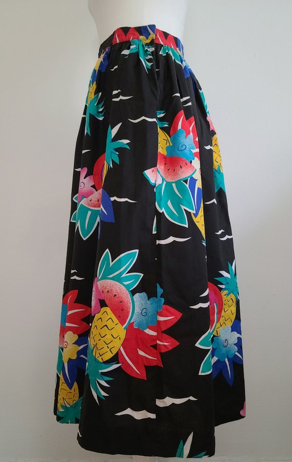 80s Tropical fruit print skirt,24 inch.