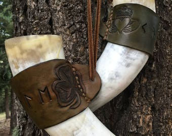 Hand tooled custom leather cuff, and drink safe horn.
