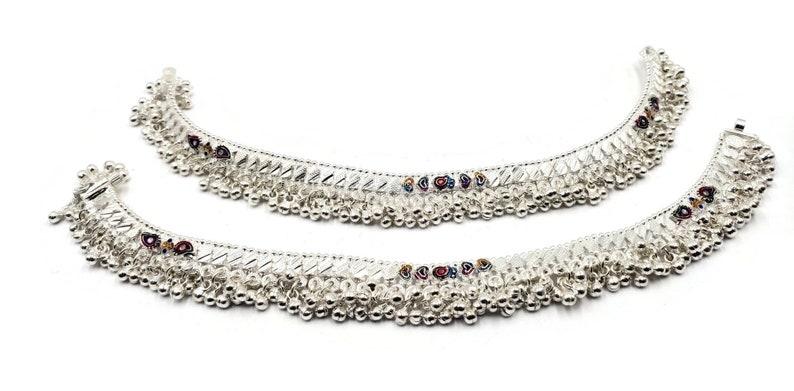 #81 600 Silver Rajwada Anklet  Pajeb  Payal with Meena /& Bells