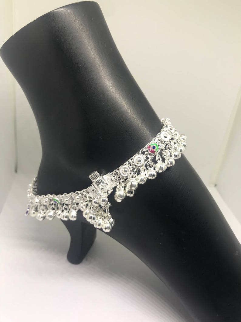 39293266299 Indian Style Silver PAJEB   PAYAL   Anklet Pair with Meena