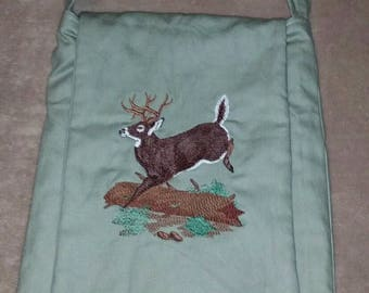 Deer handmade shoulder bag purse quilted embroidered buck crossbody bag messenger bag camo lining