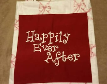 happily ever after book bag  shopping bag reusable grocery bag bride wedding  bag handmade tote bag