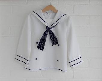 Girls Vintage 1970's Top Shirt Sailor Navy Texlene Age 6