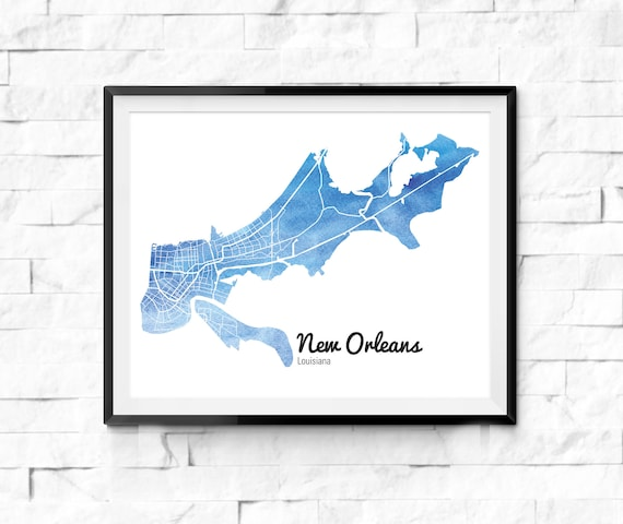 Louisiana New Orleans Map.New Orleans Watercolor Map New Orleans Louisiana New Orleans Etsy