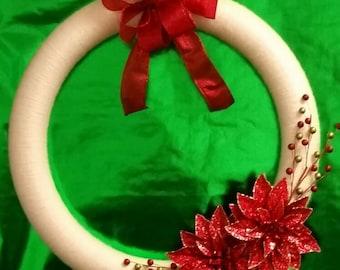Cream Christmas Yarn Wreath