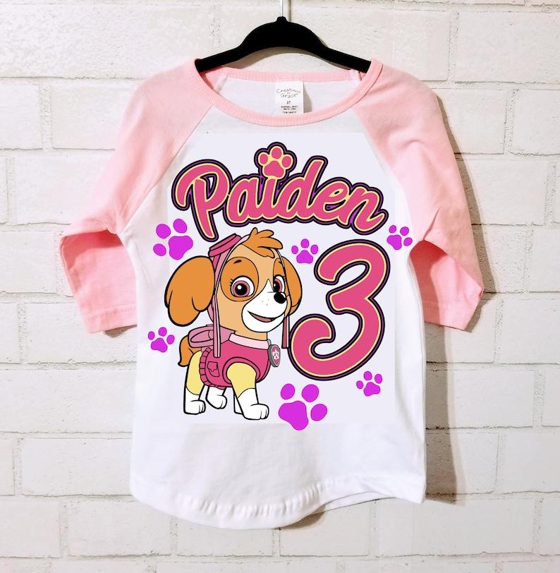 b4e193195 Skye Paw Patrol Birthday Shirt Pink and White Raglan or Plain | Etsy