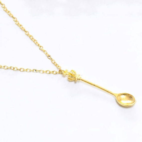 Handmade Royal Golden Spoon Charm Necklace