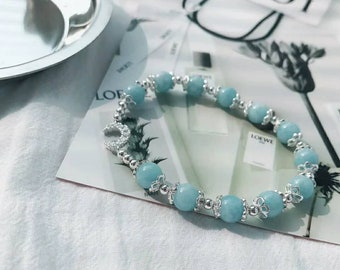 Aquamarine bracelet with sterling silver. Birth stone of March. Bridesmaid gift. Birthday gift