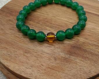 Green agate bracelet, birthday gift