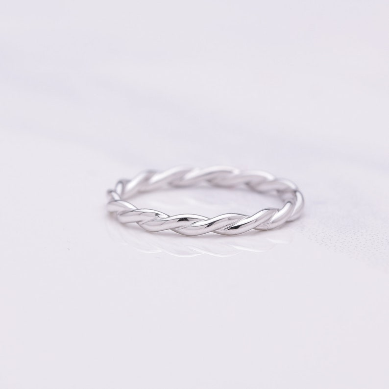 2mm Solid 14K White Gold Twisted Rope Stackable Wedding Band image 0