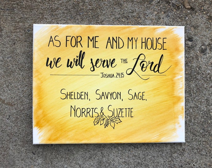 Customizable As For Me And My House We Will Serve The Lord Joshua 24:15 With Family Names | Hand-Lettered Painted Watercolor Canvas