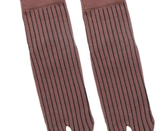 Tabi Socks Flip Flop Unisex Socks- 2 Toe Socks- Japanese Socks, Soft Brown Colour with thin stripe - Size 2.5-9 UK Euro 35-44, Split Toe.