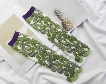 Cute Green & Purple Sweets Style Flip Flop Ankle Socks -Tabi socks Size 3-7 UK, Euro 35-41 Colourful Socks, Split Toe/ Two Toe.
