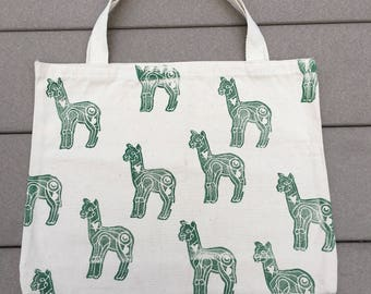Block Printed Green Alpaca Canvas Tote