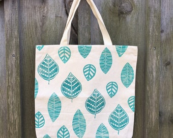 Block Printed Turquoise Leaf Canvas Tote