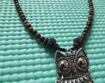 Hand beaded owl necklace