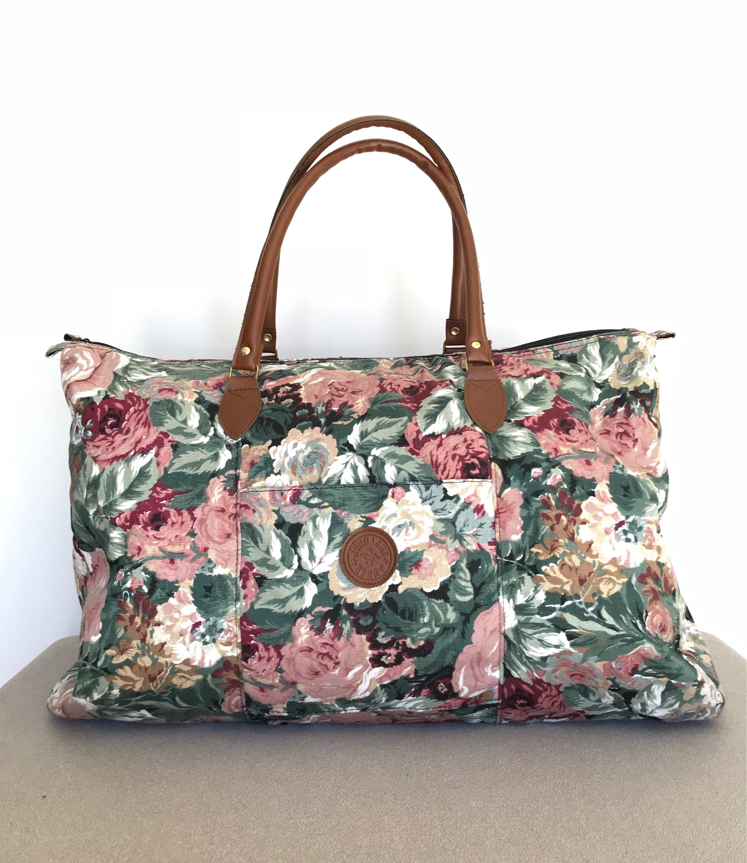 Leather Floral Duffle Bag