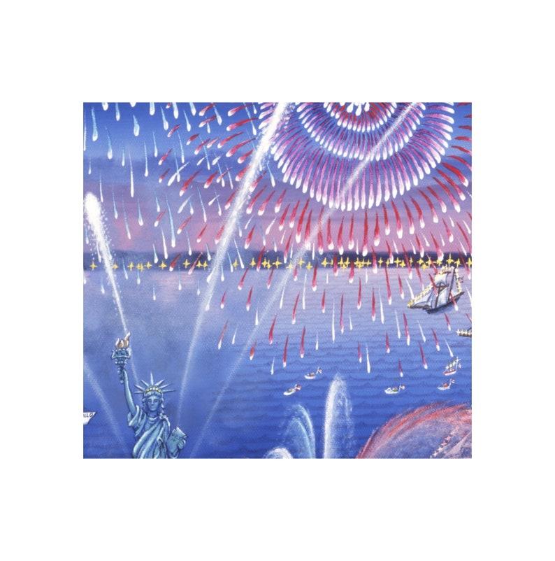 Gicl\u00e9e print of Statue of Liberty Fireworks patriotic artwork by Kathy Jakobsen