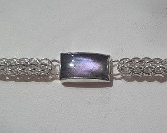 Unique Priamonite bracelet in sterling silver and purple labradorite Petros collection