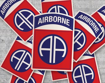 American Vinyl 82nd Airborne AA Insignia Shaped Sticker Army SSI Logo 82